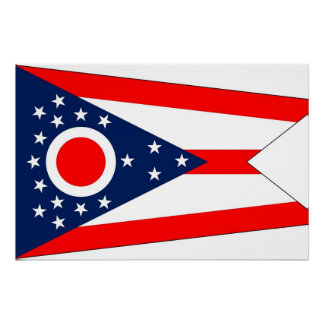 Patriotic poster with Flag of Ohio