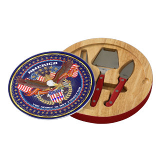 Patriotic Read About Design Below Round Cheeseboard