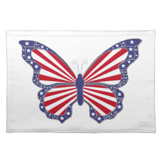 Patriotic Red White And Blue Butterfly Placemat