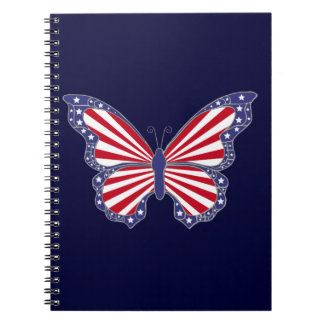 Patriotic Red White Blue Butterfly Spiral Notebook