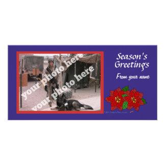Patriotic Red White Blue Christmas Custom Photo Photo Greeting Card