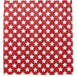 Patriotic Red With White Stars Shower Curtain