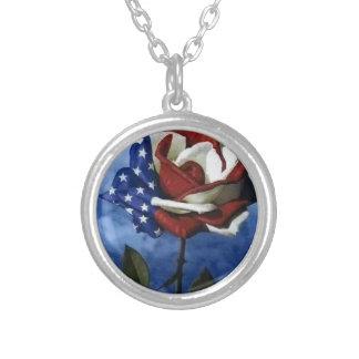 Patriotic Rose Round Pendant Necklace