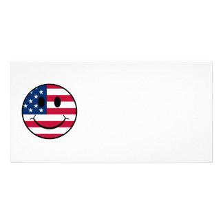 Patriotic Smiley Customized Photo Card