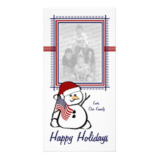 Patriotic Snowman Custom Photo Card
