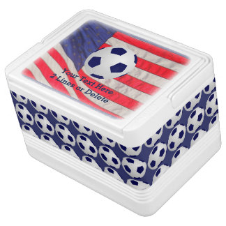 Patriotic Soccer Ball Igloo Cooler, American Flag Chilly Bin