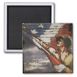 Patriotic Soldier Holding Flag Refrigerator Magnets