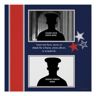 Patriotic Stars Themed Photo Collage Poster