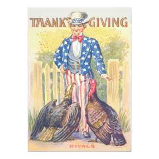 Patriotic Thanksgiving Turkey Uncle Sam Bald Eagle Card
