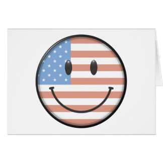 Patriotic USA Flag Smiley Face Card