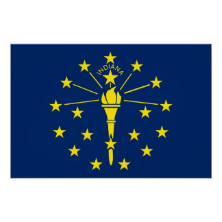 Patriotic wall poster with Flag of Indiana