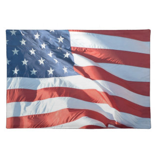 Patriotic Waving American Flag Photograph Placemat