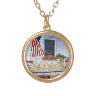 Patriotic Wheaten Scottish Terriers Gold Plated Necklace