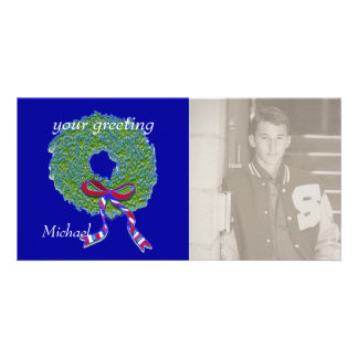 Patriotic Wreath Personalized Photo Card