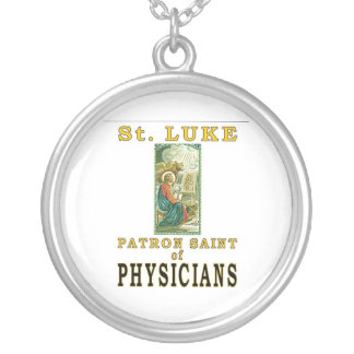 PATRON SAINT PHYSICIANS ST. LUKE SILVER PLATED NECKLACE