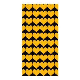Pattern Black Background with Orange Hearts Custom Photo Card