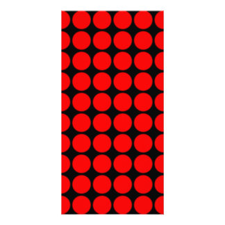 Pattern Black Background with Red Circles Photo Card Template