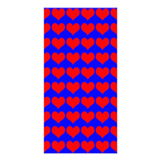 Pattern Blue Background with Red Hearts Custom Photo Card