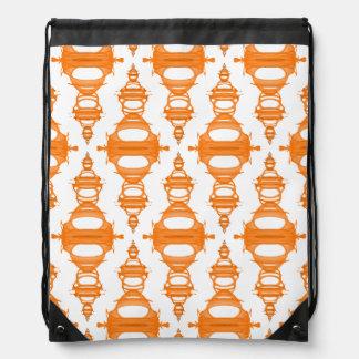 Pattern Dividers 03 closeup Orange Custom White Drawstring Bag