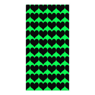 Pattern Green Background with Black Hearts Photo Card Template