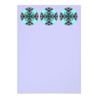 Pattern in Turquoise and Black, on Lilac Purple. Personalized Invitations