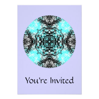 Pattern in Turquoise and Black, on Lilac Purple. Invitations