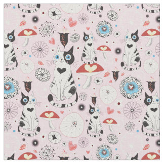 pattern of cats and flowers fabric