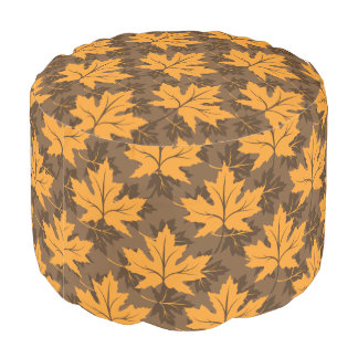 Pattern of fall leaves of maple in orange, brown round pouffe