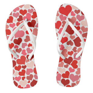 Pattern Of Hearts, Red Hearts, Love Jandals