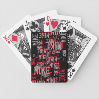 pattern of red/gray names on cool black bicycle playing cards