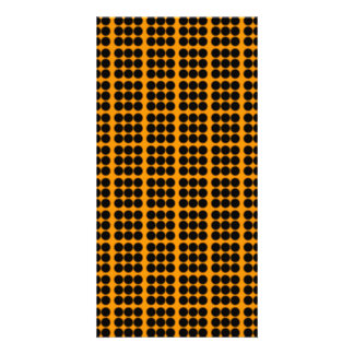 Pattern Orange Background with Black Circles Photo Card Template