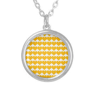 Pattern: White Background with Orange Hearts Custom Necklace