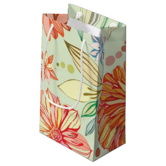 Pattern with asters small gift bag