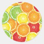 Pattern with citrus fruits round sticker