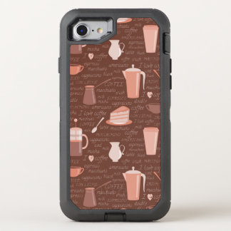 Pattern with coffee related elements OtterBox defender iPhone 8/7 case