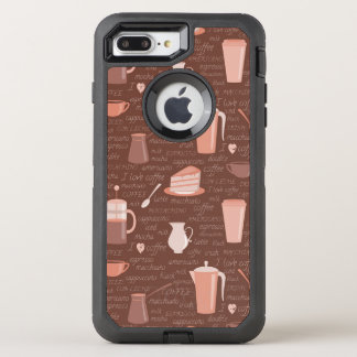 Pattern with coffee related elements OtterBox defender iPhone 8 plus/7 plus case