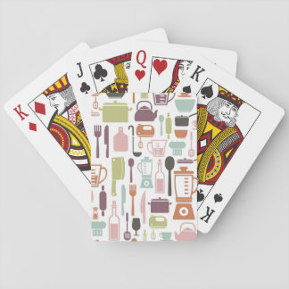 Pattern with colorful cooking icons playing cards