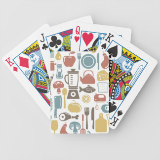 Pattern with cooking icons bicycle playing cards
