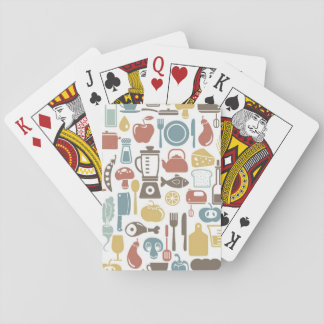 Pattern with cooking icons playing cards