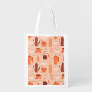 Pattern with drinks and text reusable grocery bag