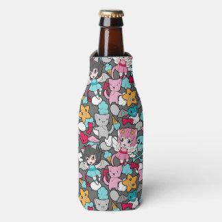 Pattern with kawaii doodle bottle cooler