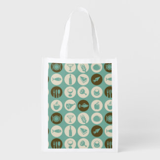 Pattern With Restaurant And Food Icons Reusable Grocery Bag
