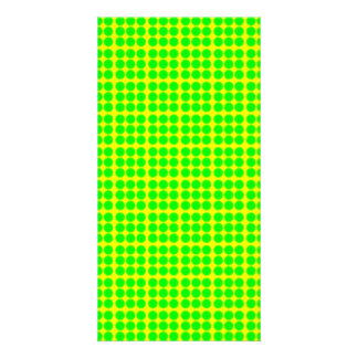 Pattern Yellow Background with Green Circles Custom Photo Card