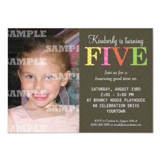 Patterned Five Birthday Party Invitation