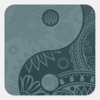Patterned Yin Yang Slate Blue Square Sticker