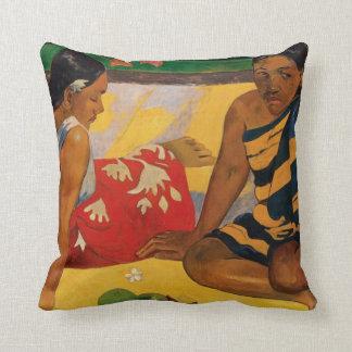 Paul Gauguin Two Women Of Tahiti Parau Api Vintage Cushion