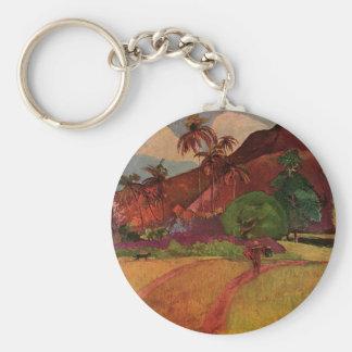 Paul Gauguin's Tahitian Landscape (1893) Basic Round Button Key Ring