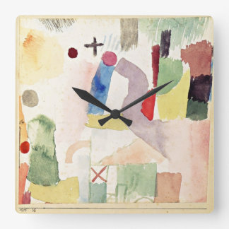 Paul Klee art: Pathetic Watercolor, Red Square Wall Clock