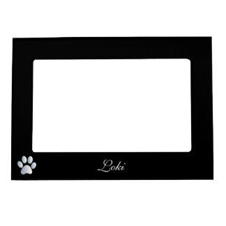 Paw print custom dogs name initial L black Magnetic Picture Frame