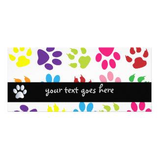 Paw print dog pet colorful fun custom rack card